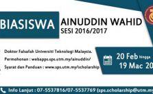 Biasiswa Tan Sri Ainuddin Wahid 2017 UTM