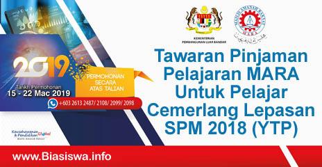 Pinjaman Pelajaran Mara Program Ytp 2019 Untuk Lepasan Spm 2018