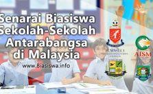 senarai biasiswa sekolah-sekolah antarabangsa di malaysia